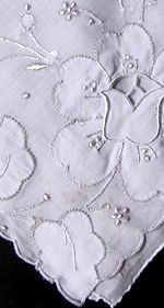 vintage whitework hanky with Flowers