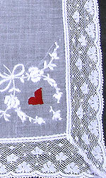 vintage valentine hanky handmade lace and embroidery Madeira whitework