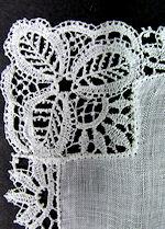 vintage  wedding hanky Schiffli lace