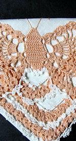 vintage irish linen hankerchief handmade figural lace