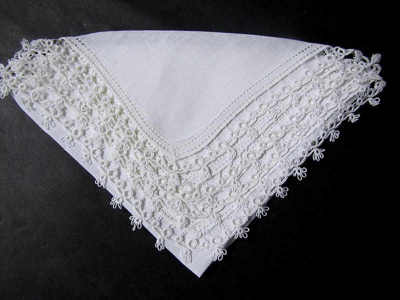 vintage antique irish linen handmade tatted lace  hanky