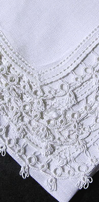 vintage handkerchief irish linen handmade tatted lace