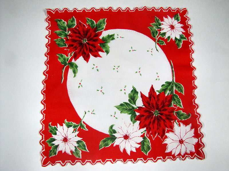vintage antique Christmas poinsetta hanky