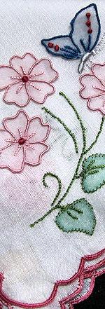 vintage handmade ladies butterfly handkerchief