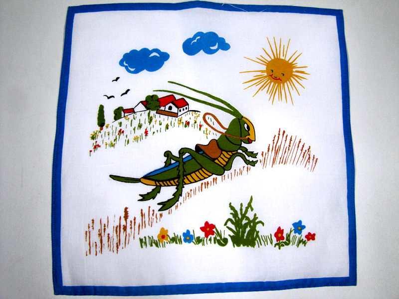 vintage antique childs grasshopper handkerchief  hanky