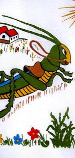 vintage child's grasshopper hankie