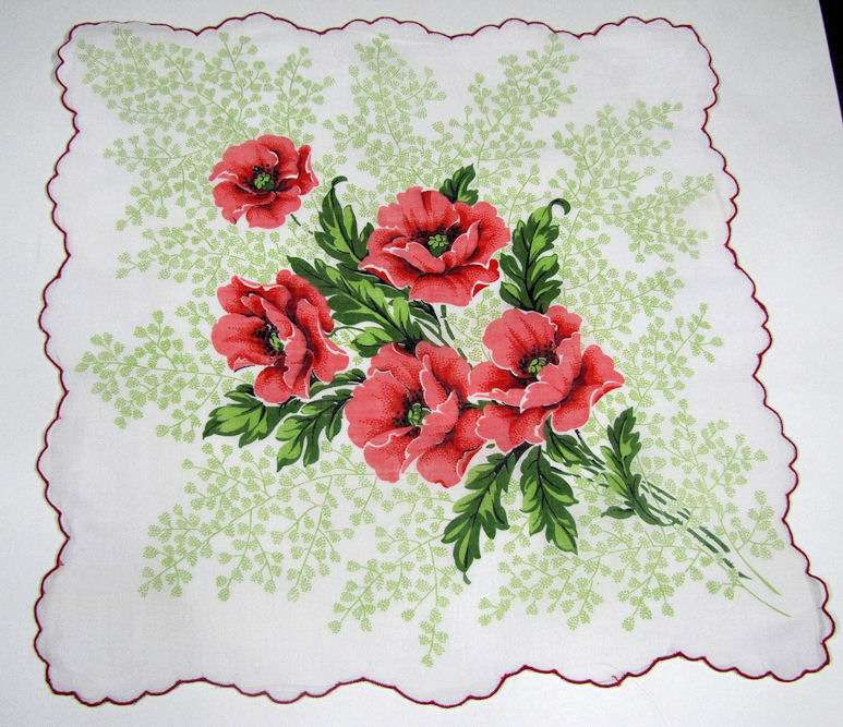 vintage antique floral print poppies hanky