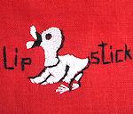 vintage hand embroidered lipstick hankie