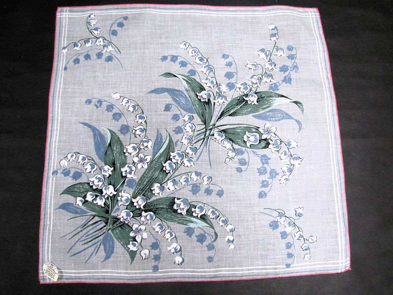 vintage antique floral print lilies of the valley hanky