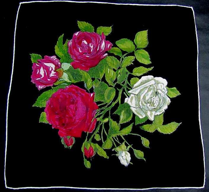 vintage antique floral print roses  hanky