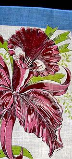 vintage ladies hankerchief floral print orchid