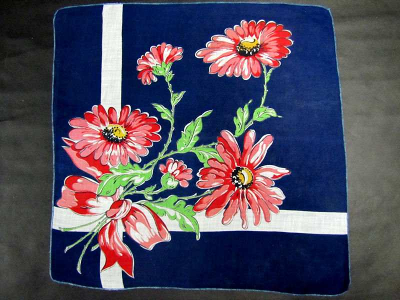 vintage antique floral print with ribbons hanky
