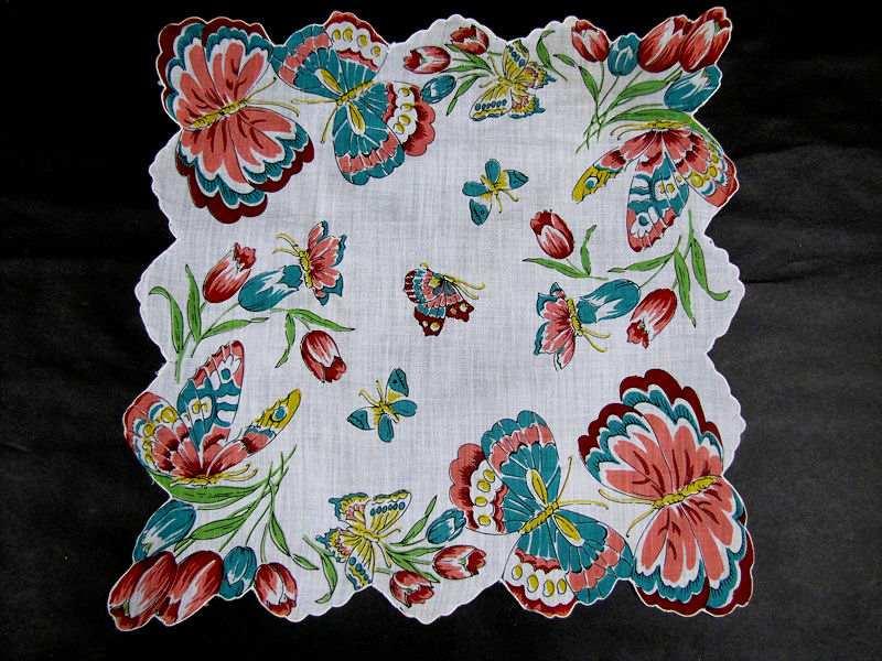 vintage antique floral print butterflies hanky
