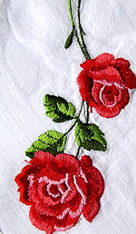 vintage embroidered hanky red roses