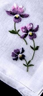 vintage embroidered hanky violets