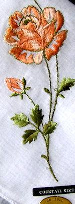 vintage embroidered  rose hanky