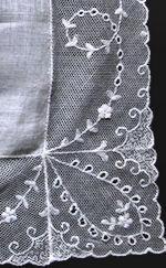 vintage antique wedding brides hanky with limerick lace