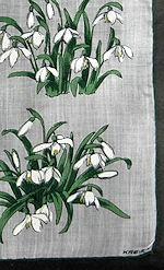 vintage designer Kreier flowers hanky