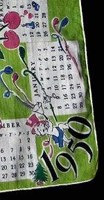 vintage designer 1950 calendar hanky