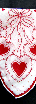 vintage valentine hanky hearts and bows