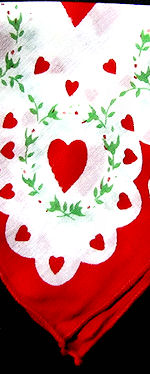 vintage valentine hanky hearts and flowers