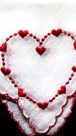 vintage valentine embroidered hearts hanky