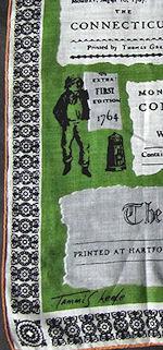 vintage designer Tammis Keefe Connecticut Courant hartford newspaper print hanky