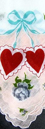 vintage Valentine hanky red hearts  ribbons print