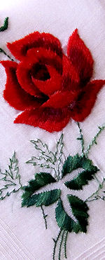 vintage hanky old fashioned embroidered roses