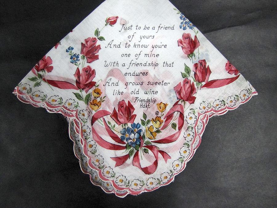 vintage antique floral print friendship hanky