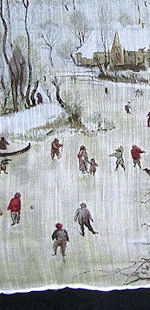 vintage winter ice skating hanky designer Kreier