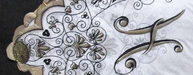 vintage handmade monogrammed H hanky with gold trim