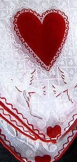 vintage valentine print hanky hearts love birds