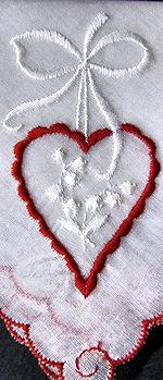 vintage valentine hearts embroidered hanky