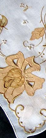 vintage hanky handmade lace, embroidery applique
