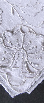 vintage handmade whitework hanky daffodils applique