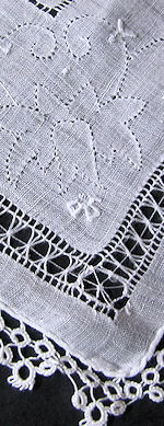vintage handmade whitework hanky with tatted lace