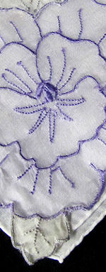 vintage embroidered pansy organdy insert hanky