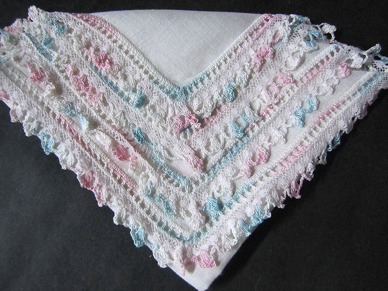 vintage antique irish linen handmade lace  hanky