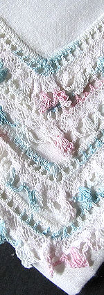 irish linen hanky French and handmade lace     style=