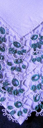 irish linen hanky handmade tatted lace