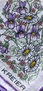 vintage designer kreier violets hanky