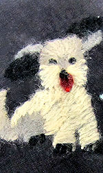 vintage  hanky embroidered fuzzy puppy