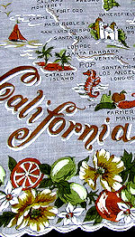 vintage state map california hanky