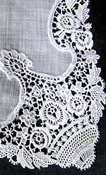 vintage antique wedding hankie handmade schiffli lace