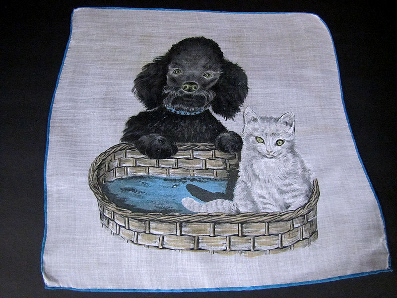 vintage antique puppy and kitten  hanky