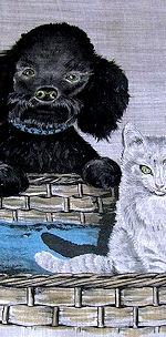 vintage ladies hankerchief puppy and kitten