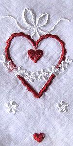 vintage valentine hanky embroidery