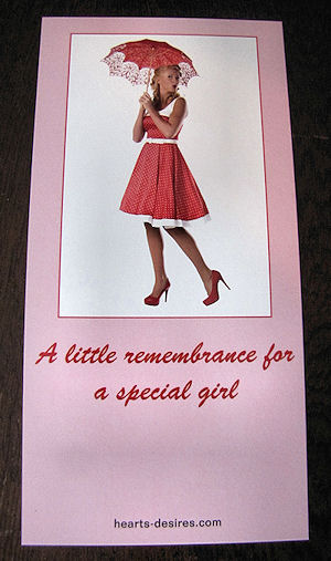 gift card for vintage hanky girl with parasol