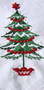 vintage Christmas tree hanky